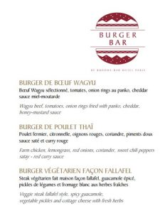 Burger Bar : carte de burgers