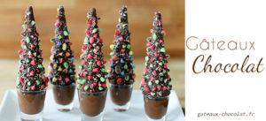 Recette de sapin de Noël en verrine sous forme de cone au chocolat