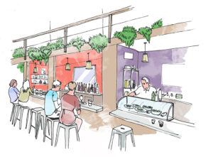 Croquis plan food hall