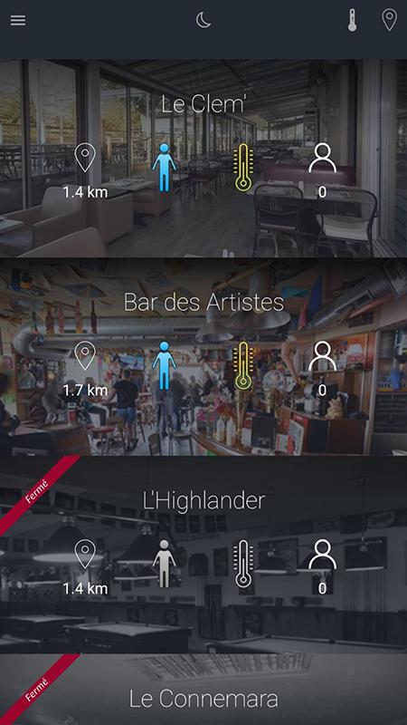 Capture d'écran de l'application Nowego : liste d'établissements à La Roche sur Yon