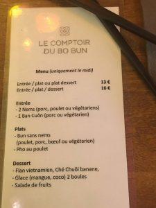 Le Comptoir du Bo Bun : menu