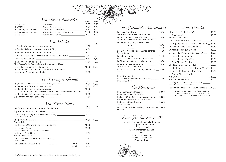 Le Marronnier restaurant traditionnel alsacien proche de Strasbourg