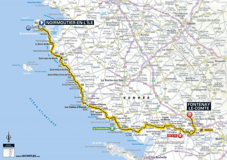 Tour de France 2018 - Parcours de la première étape en Vendée