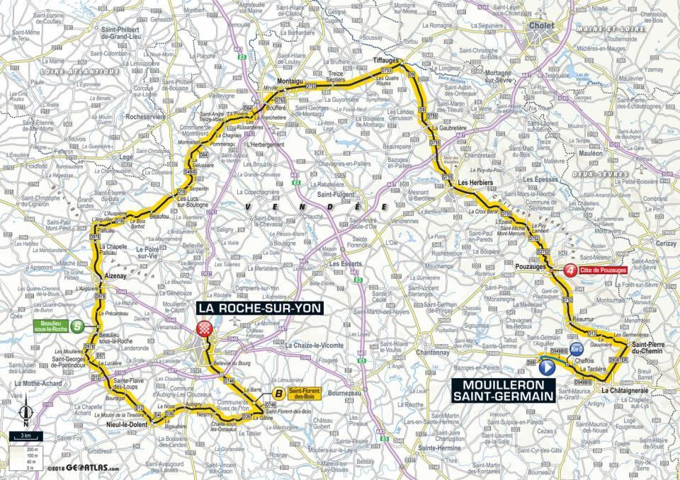 Tour de France 2018 - Parcours de l'étape 2 en Vendée