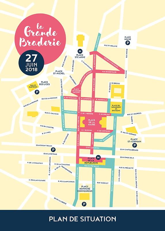 plan de la grande braderie de Rennes le 27 juin 2018