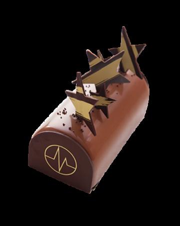 BÛCHE CHOCOLAT NOIR PRALINÉ PÉCAN