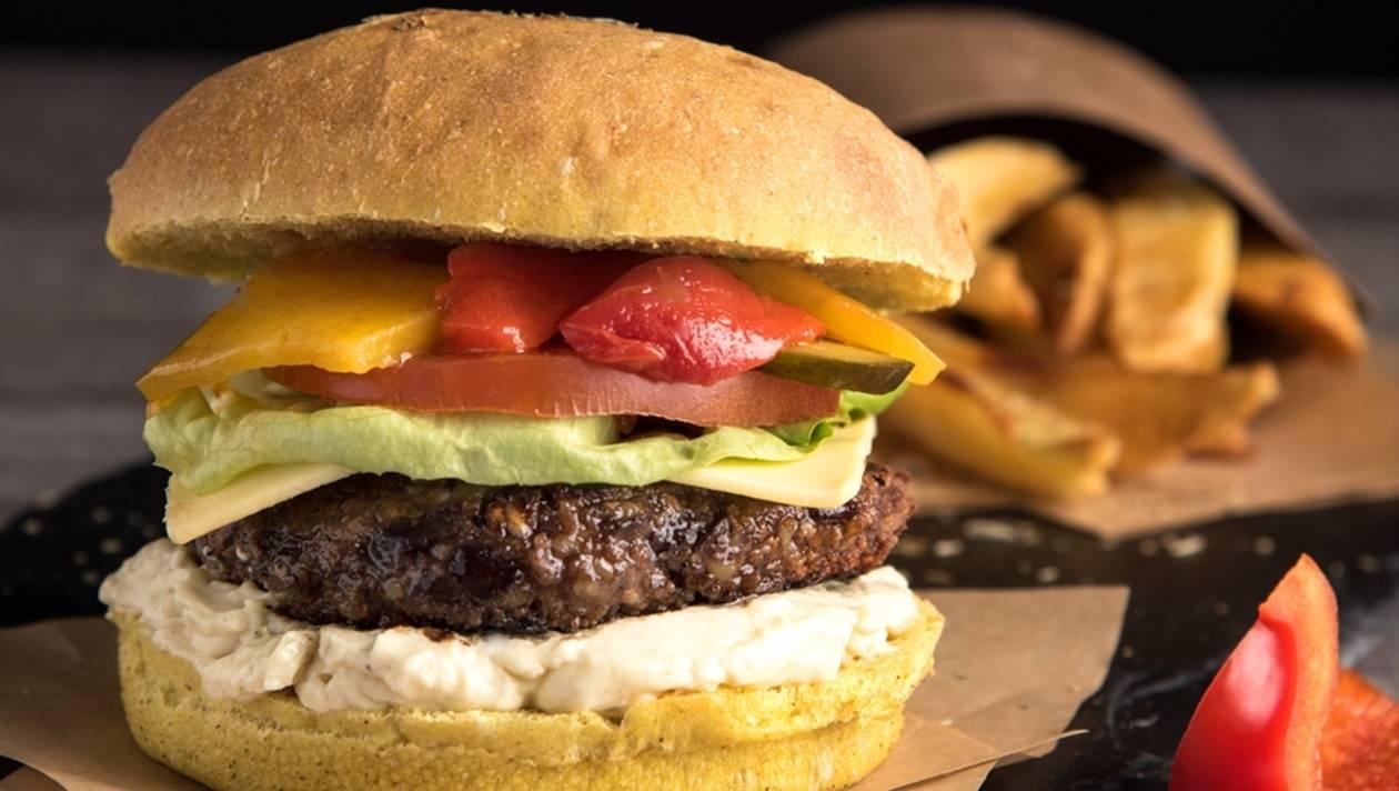 Nouveau fast food : Photo d'un burger et de frites