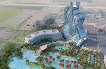 Photo de l'hôtel en forme de guitare du groupe Hard Rock Hotel & Casino