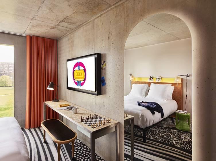 Chambre de l'hôtel Mama Shelter Lille
