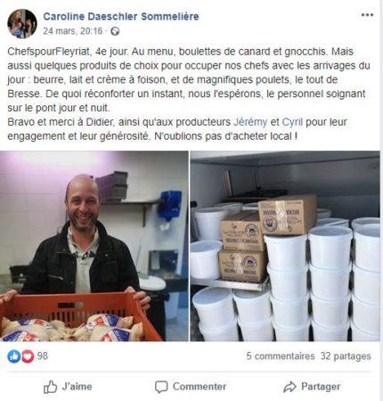 post facebook de Caroline Daeschler